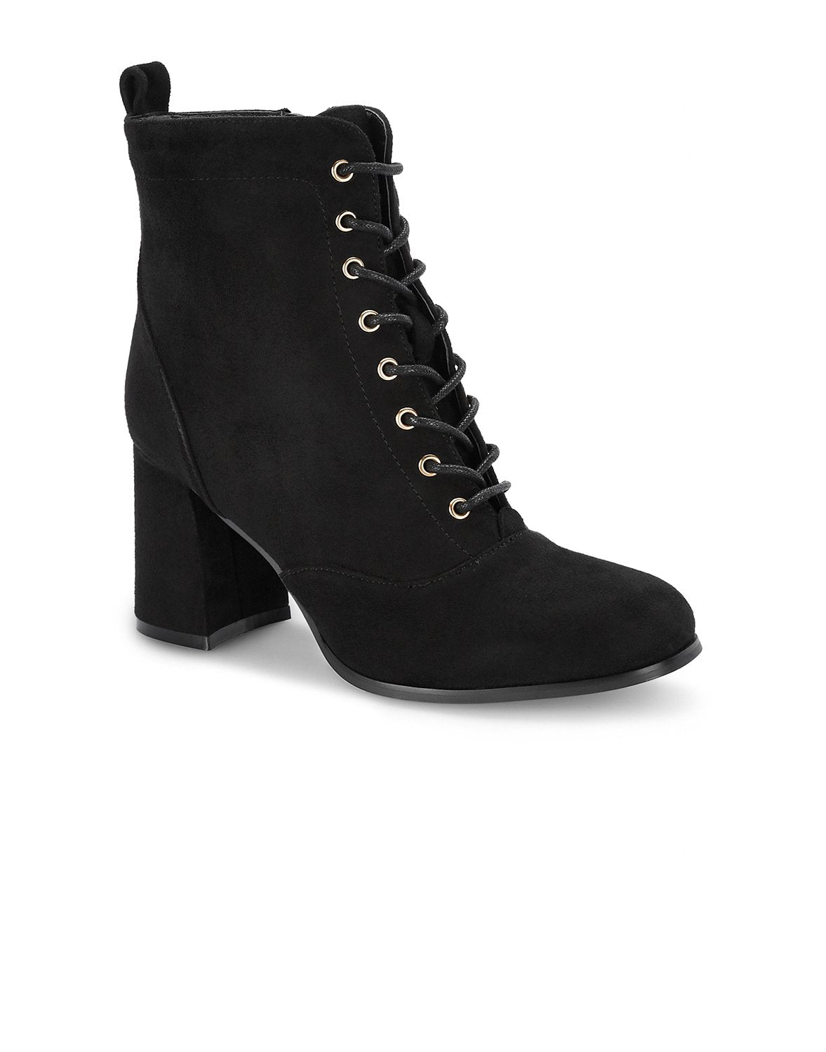 Aline Black Block Heeled Boots