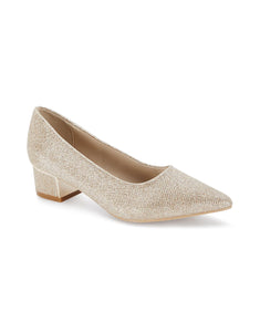 Mireille Gold Pointed Toe Block Heels
