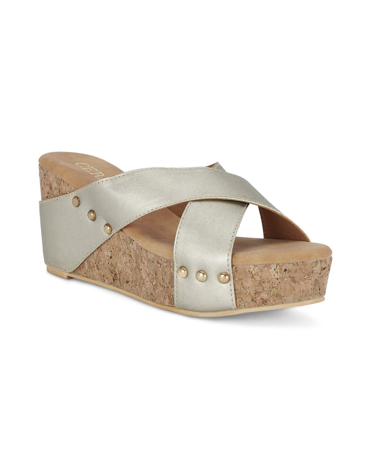 Amelie Wedge Gold Sandals