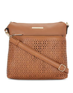 Frais Tan Cutwork Sling Bag