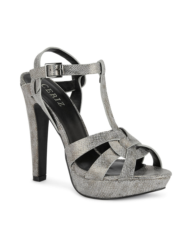 Andrea Platform-heeled Skin Pewter Sandals