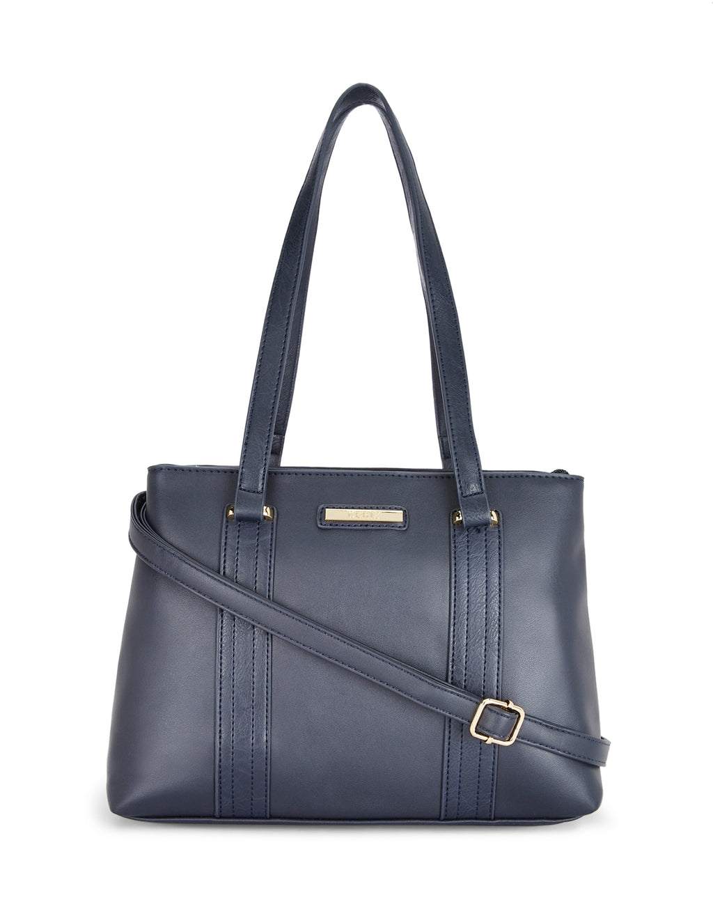 Alyssa Double Compartment Navy Handbag