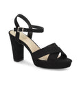 Helene Black Open Toe Platforms