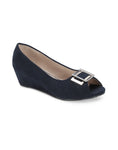 Lucette Navy Open Toe Wedges
