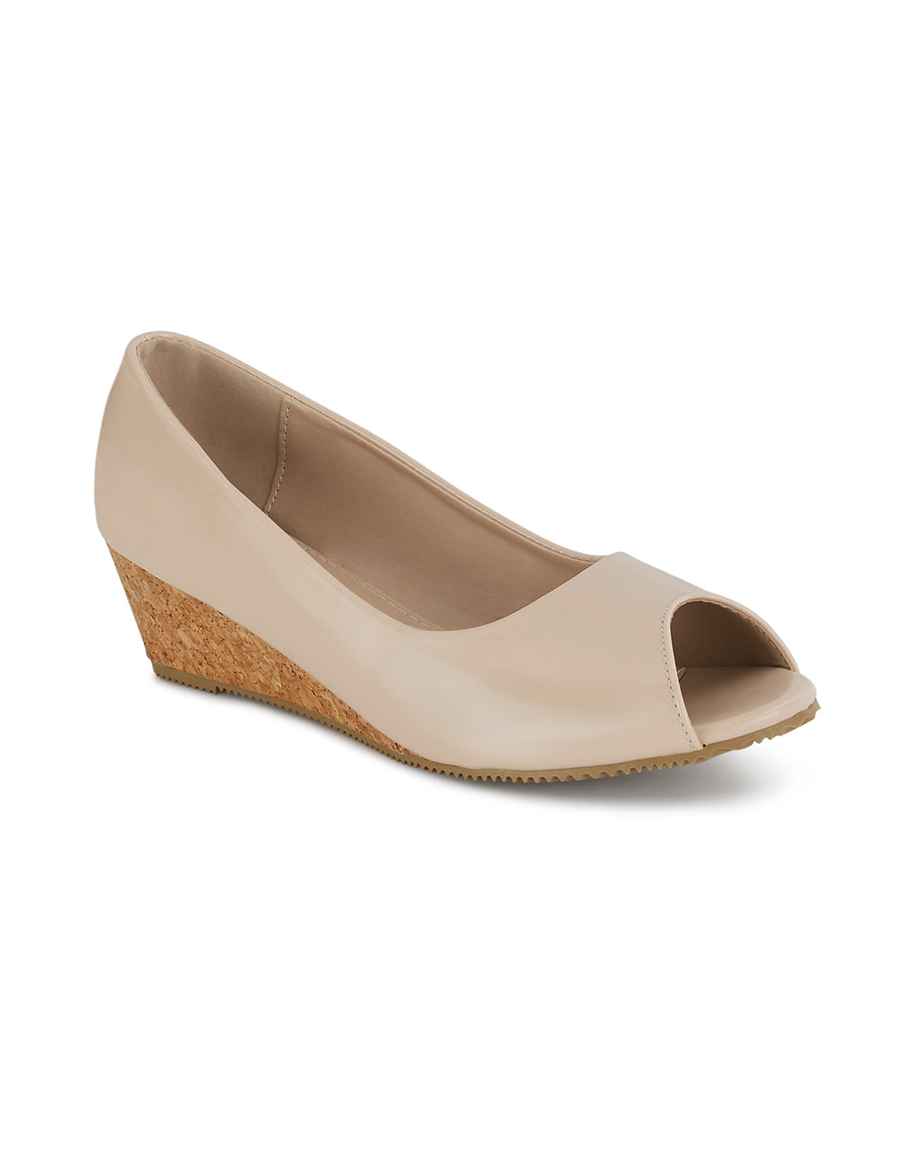 Jolene Nude Peep Toe Wedges