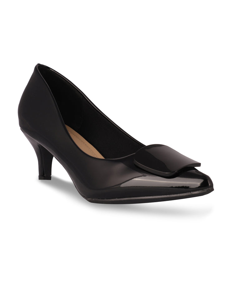 Elle Black Pointed Toe Pumps