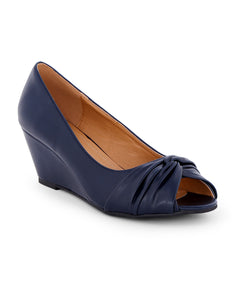Naraa Navy Knotted Peeptoes