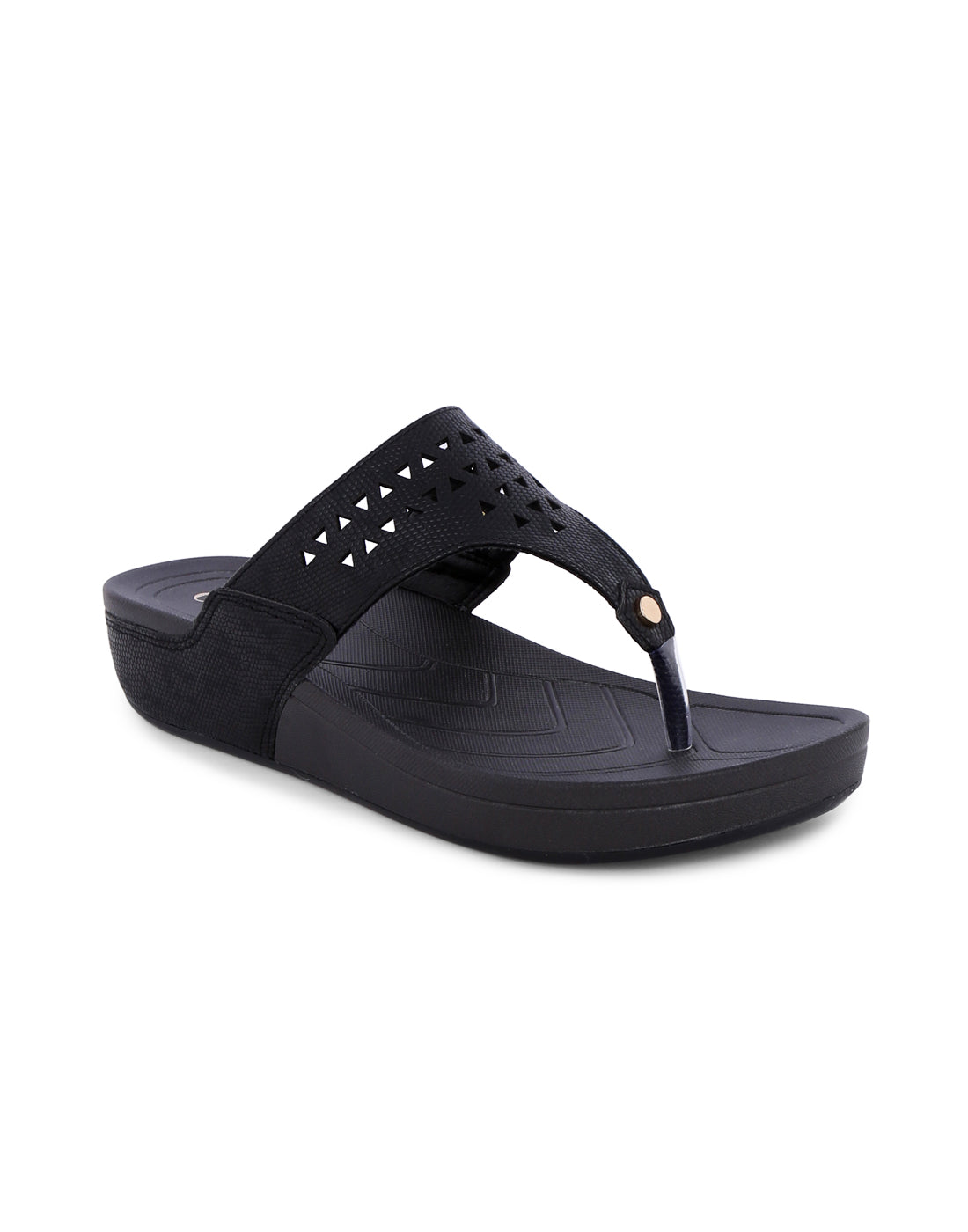 Afiaa Black Perforated Sandals
