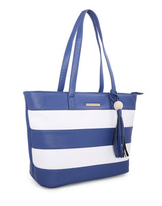 Bianca Striped Navy Tote Bag