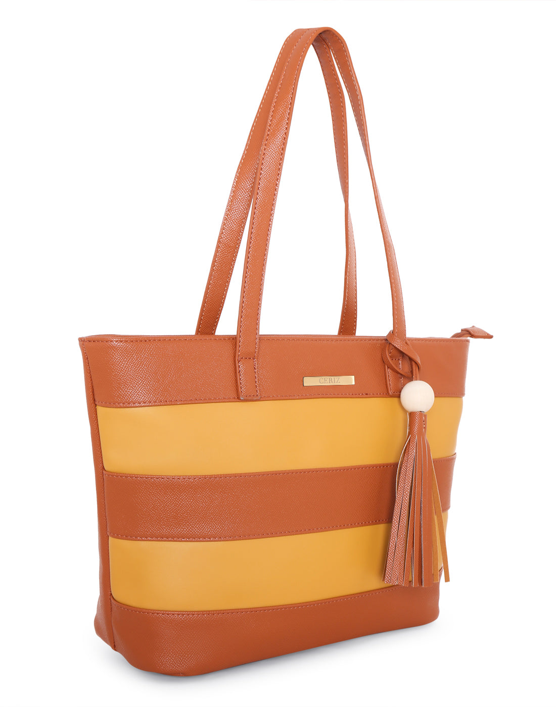 Bianca Striped Tan Tote Bag