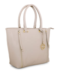Bellone Zippered Beige Handbag