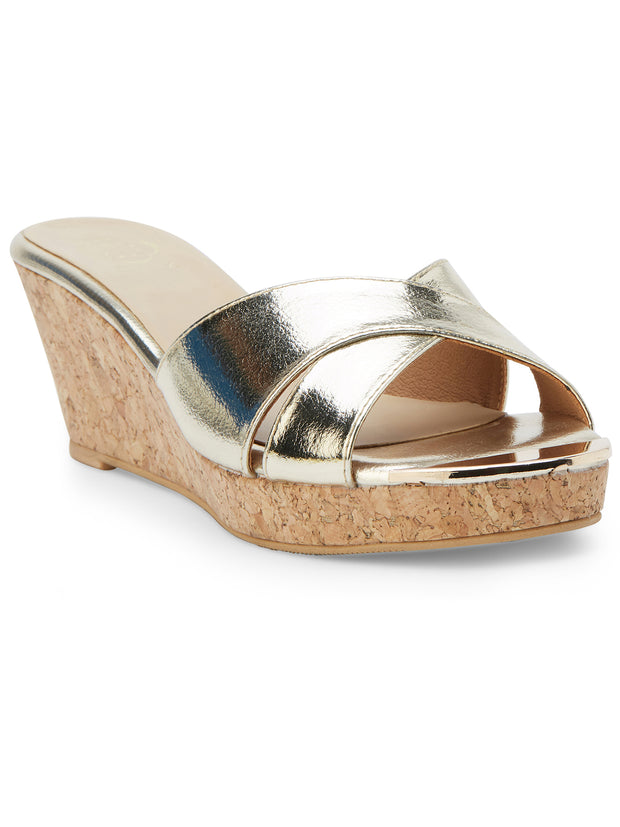 Gabrielle Open Toe Gold Sandals