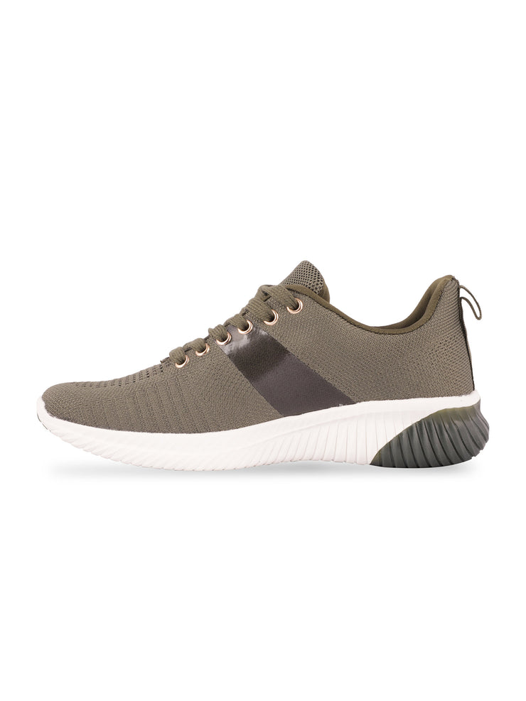 Sarah Lace-Up Olive Sneakers