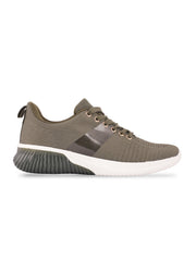 Sarah Lace-Up Olive Sneakers 1