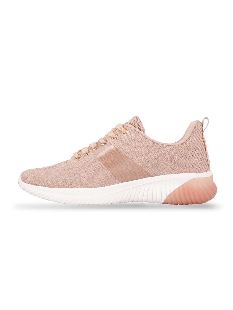 Sarah Lace-Up Nude Sneakers 2