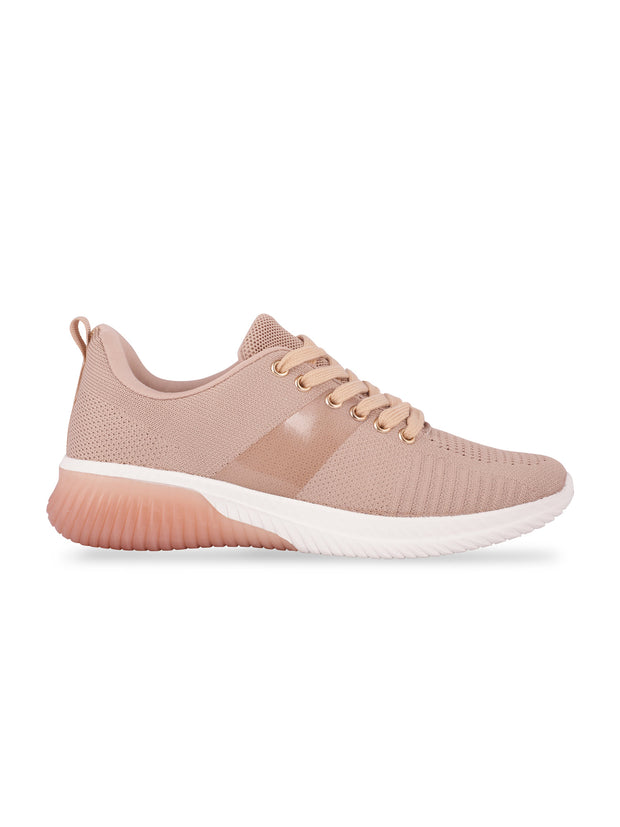 Sarah Lace-Up Nude Sneakers 1