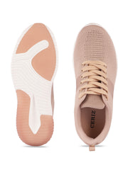 Sarah Lace-Up Nude Sneakers