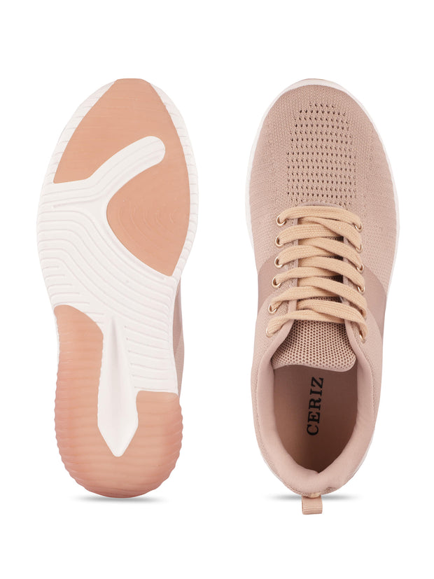 Sarah Lace-Up Nude Sneakers 4
