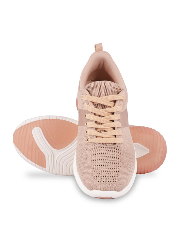 Sarah Lace-Up Nude Sneakers 5