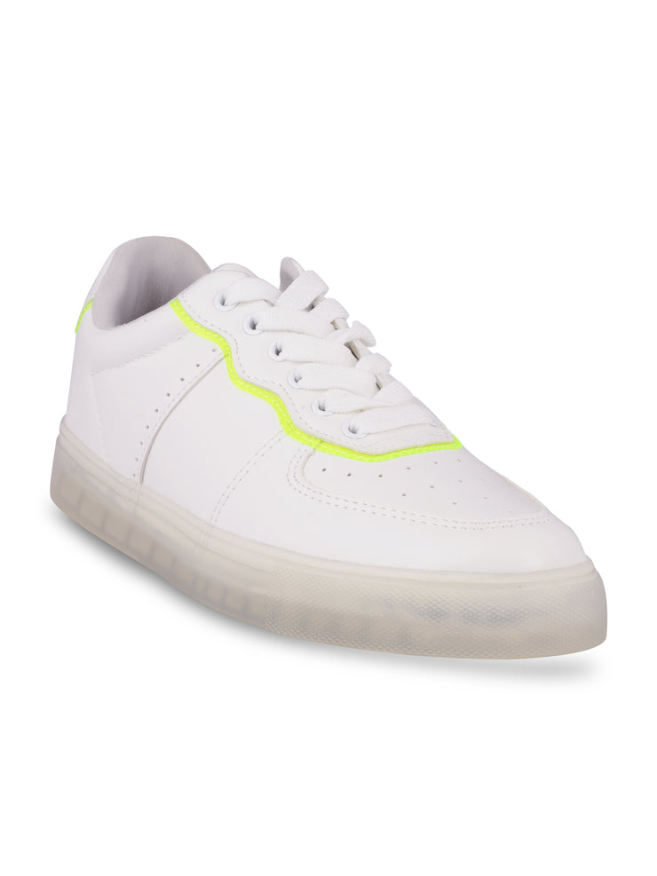 Catherine Lace-Up Neon Green Sneakers