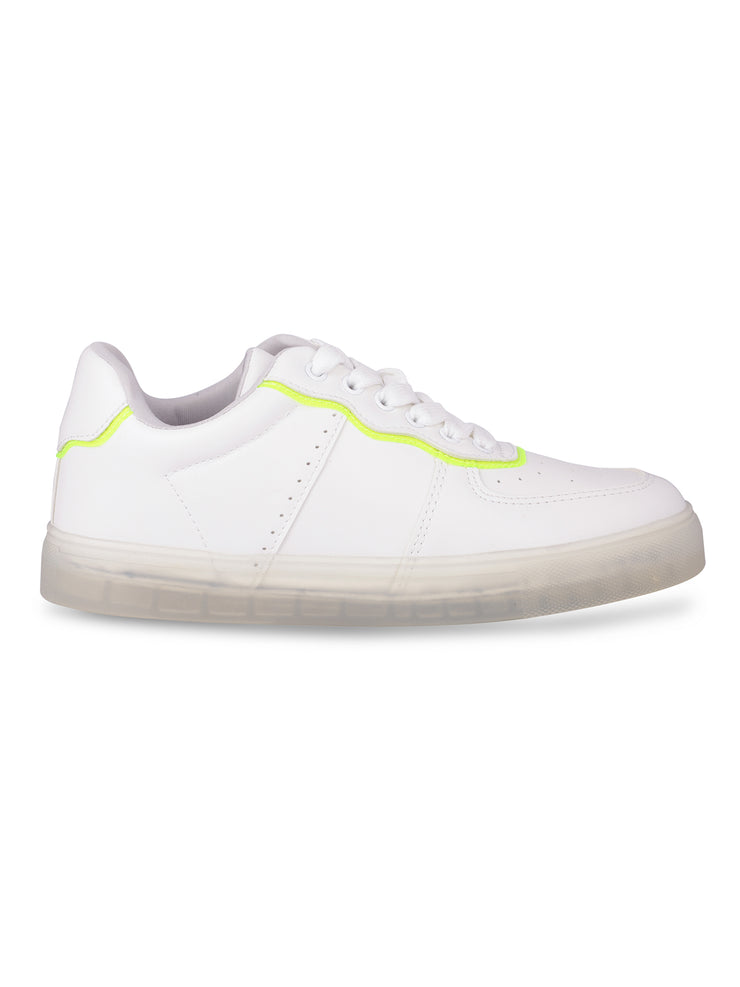 Catherine Lace-Up Neon Green Sneakers 1