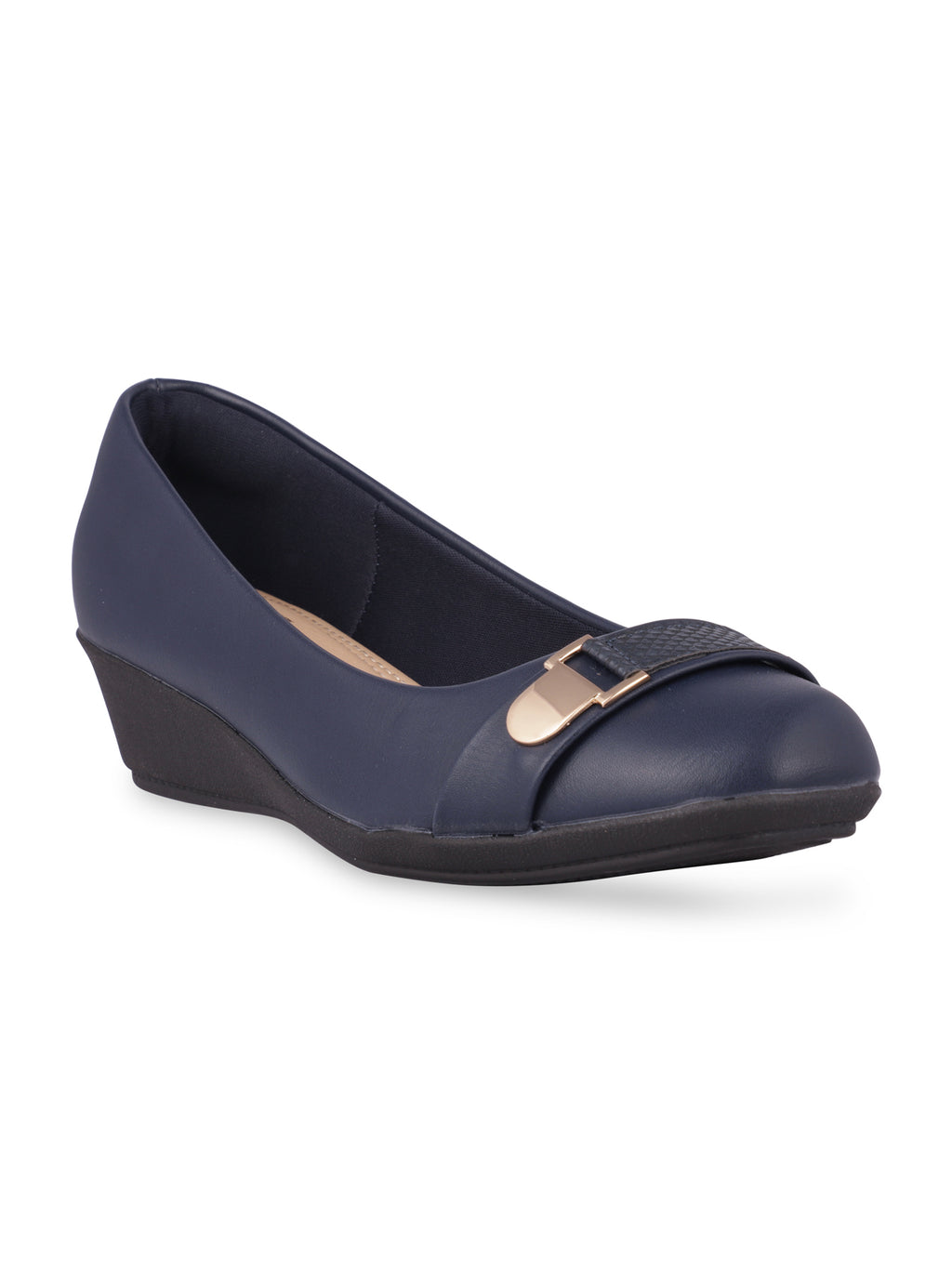 Adelyn Navy Round Toe Pumps