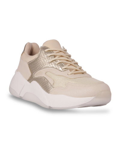 Shannon Lace-Up Beige Sneakers