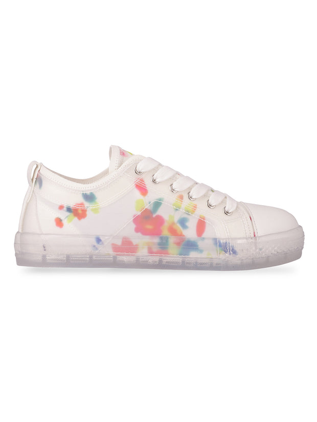 Elvire Floral Printed White Sneakers