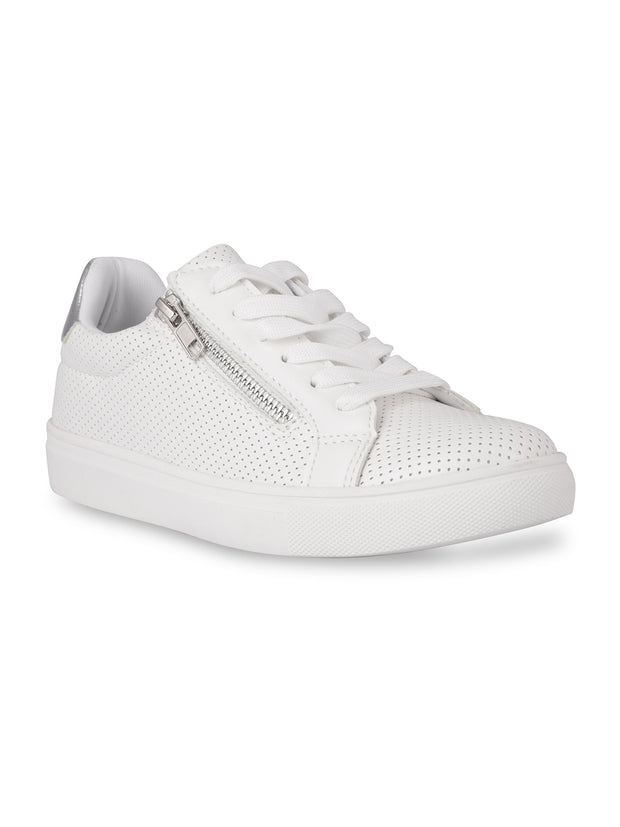 Elodie Lace-Up White Sneakers