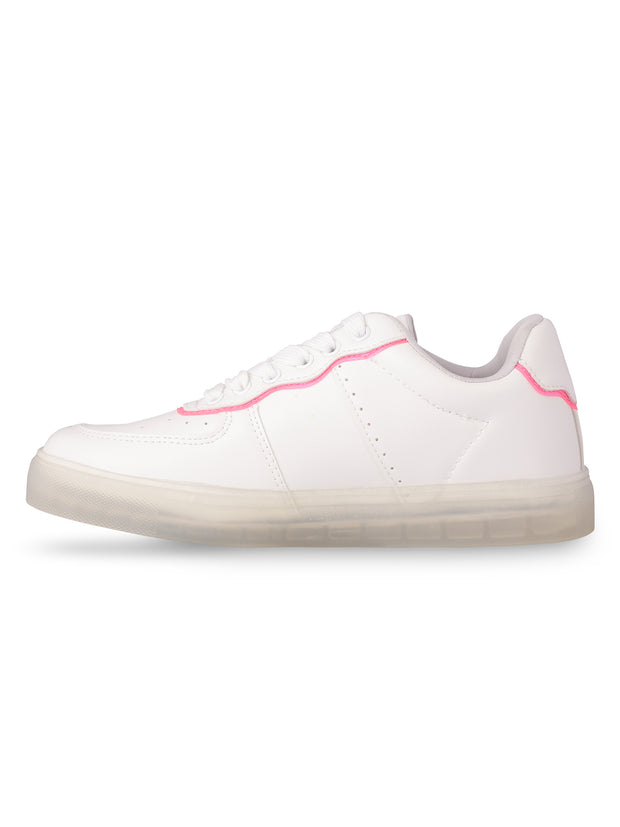 Catherine Lace-Up Neon Pink Sneakers 2