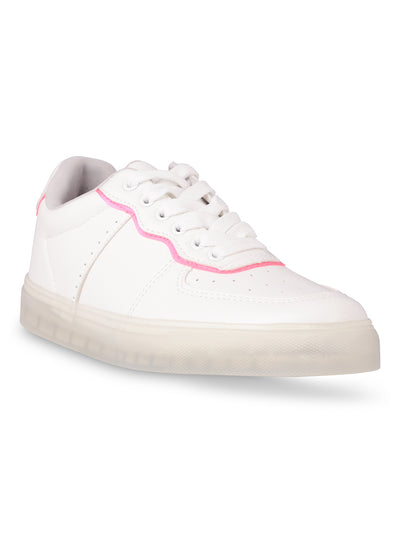 Catherine Lace-Up Neon Pink Sneakers