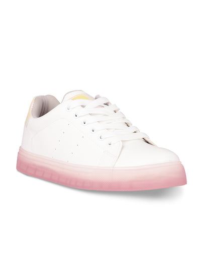 Delphine Lace-Up Pink Sneakers
