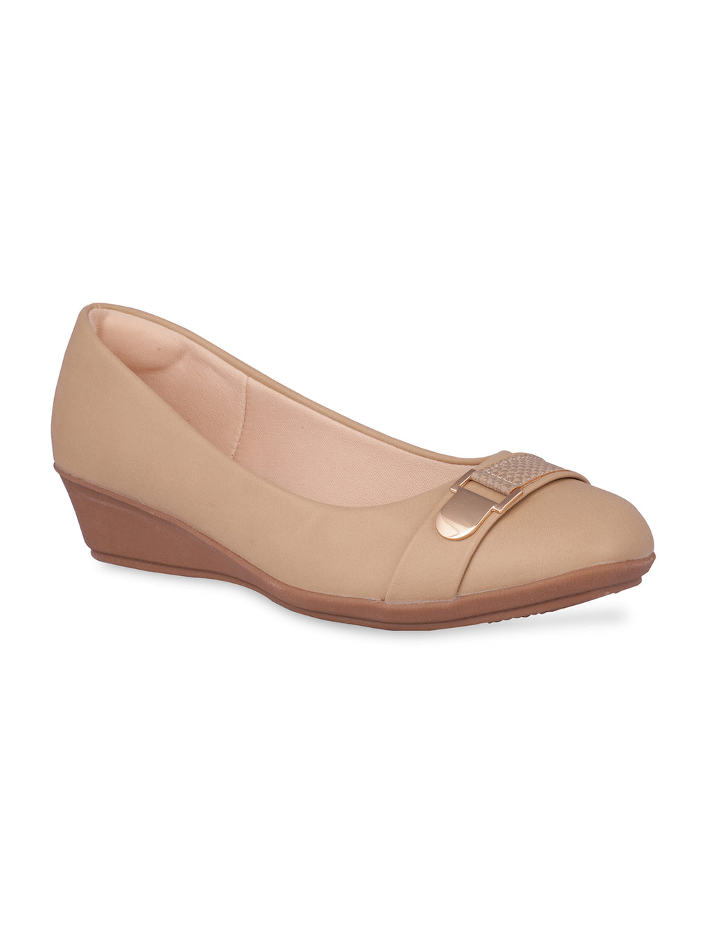 Adelyn Beige Round Toe Pumps