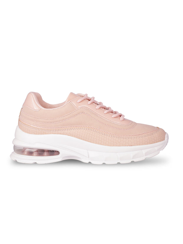 Louisa Lace-Up Nude Sneakers 1