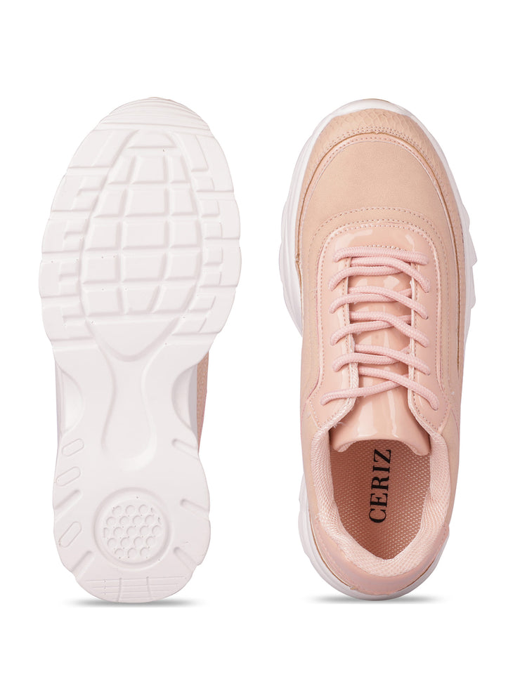 Louisa Lace-Up Nude Sneakers 4