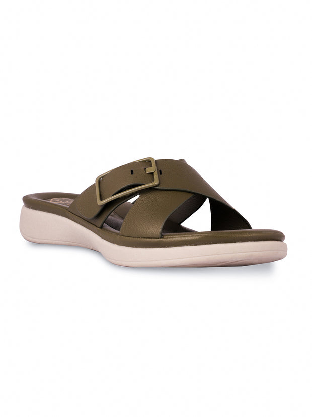 Cyrille Olive Casual Sandals