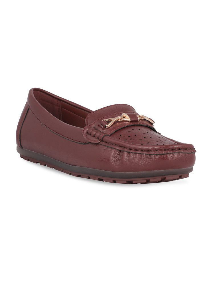 Darla Round Toe Burgundy Loafers
