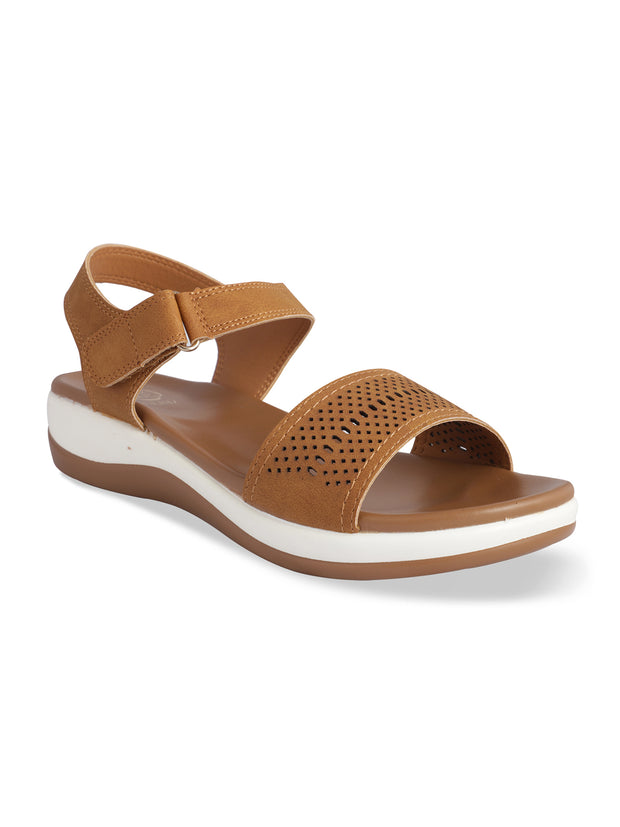 Lydia Camel Open Toe Comfort Sandals
