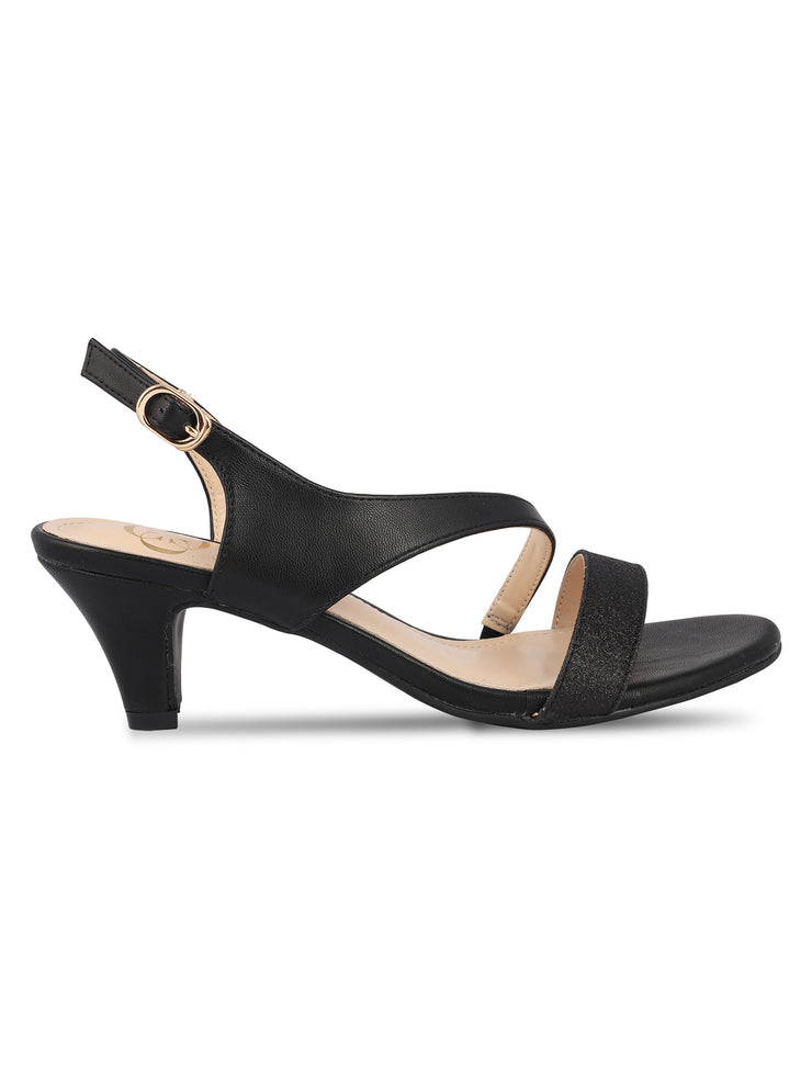 Melusine Black Kitten Heel Sandals 1