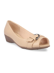 Elvina Beige Peep Toe Wedges