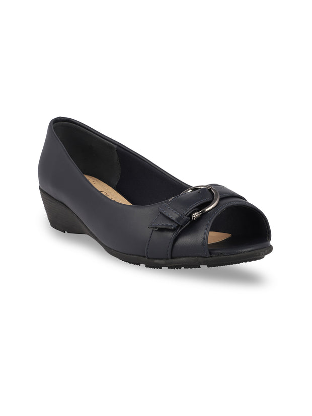 Elvina Navy Peep Toe Wedges