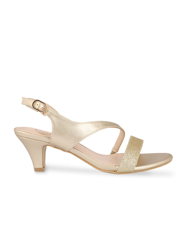 Melusine Gold Kitten Heel Sandals
