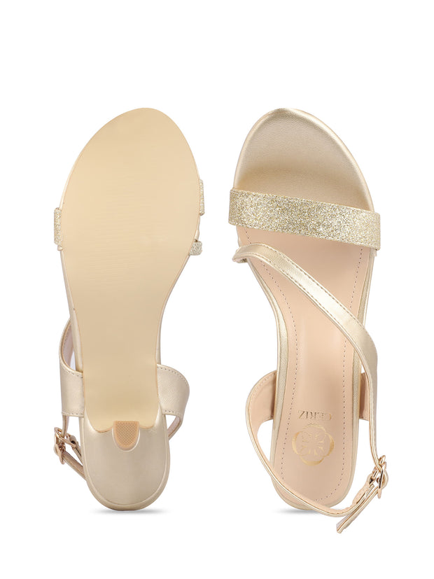 Melusine Gold Kitten Heel Sandals 4