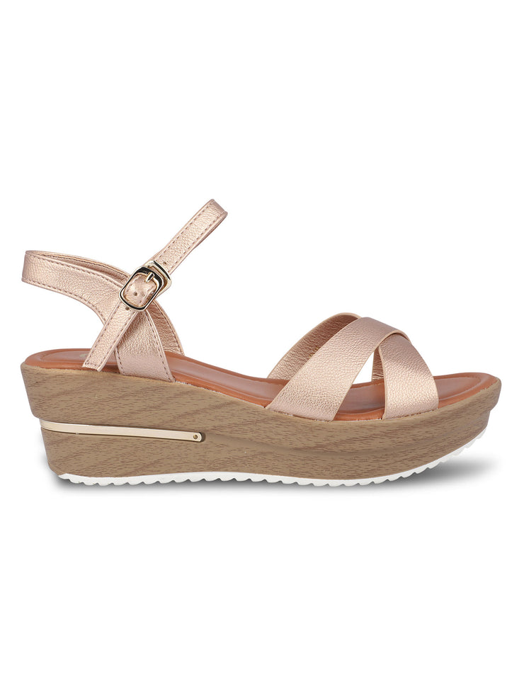 Gigi Rose Gold Wedge Sandals 1