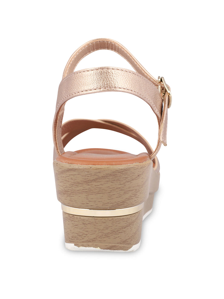 Gigi Rose Gold Wedge Sandals 3