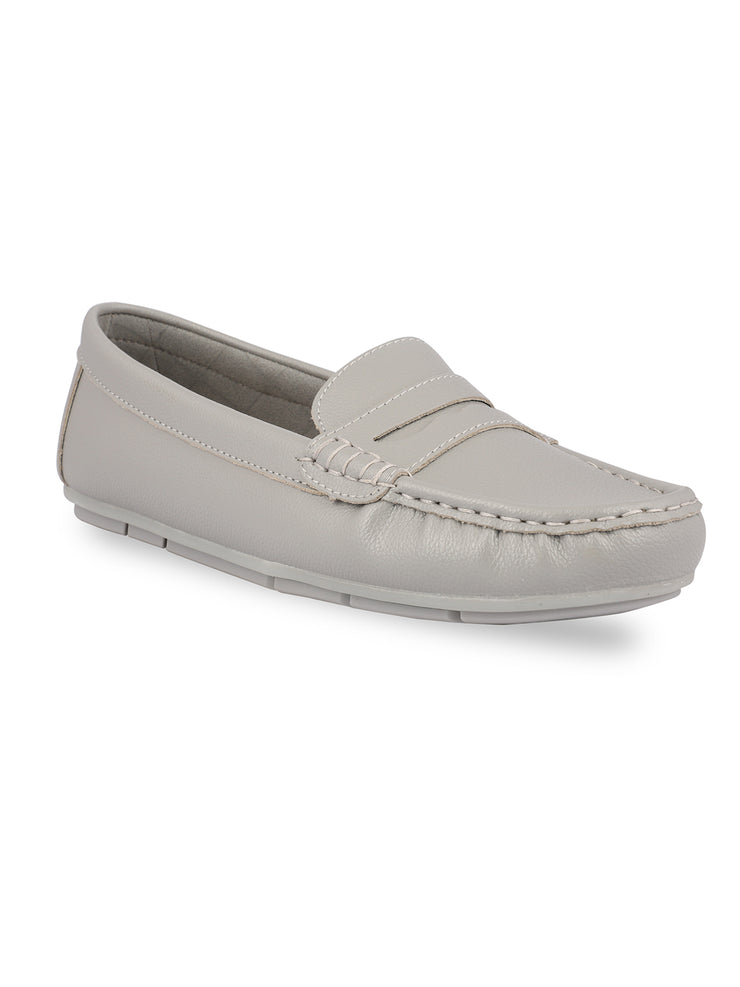 Anne Round Toe Grey Loafers