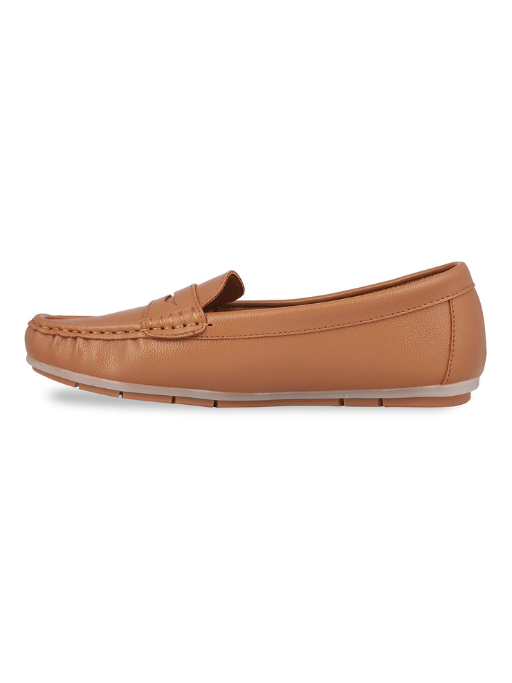 Anne Round Toe Camel Loafers 2