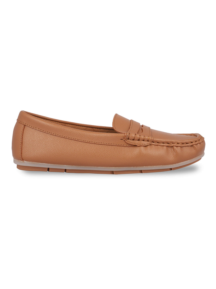 Anne Round Toe Camel Loafers 1