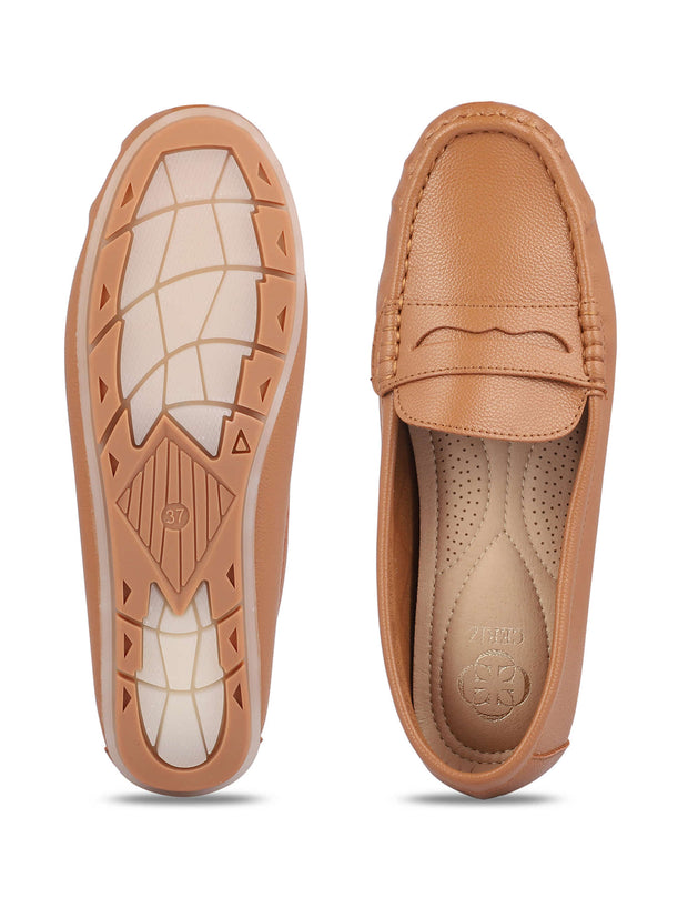 Anne Round Toe Camel Loafers 4