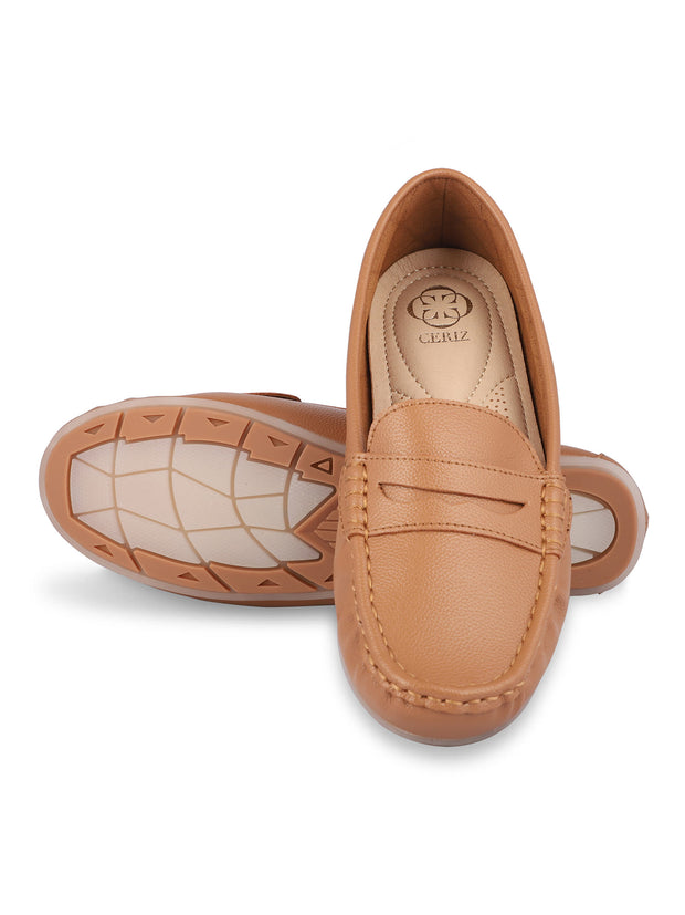 Anne Round Toe Camel Loafers 5